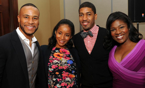 """(L-R) Author and Inspirational Speaker DeVon Franklin, Actress Faune A. Chambers (""""The Curious Case of Benjamin Button""""), Event Host Fonzworth Bentley, and HBO Star Edwina Findley (""""Treme"""") at the 2013 Celebration of Gospel Prayer Breakfast"""