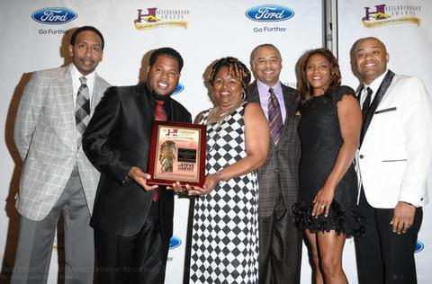 Stephen A. Smith (journalist/ESPN), Minister Earl Bynum, Cynthia Sivells (President of The Mount Unity Choir), Ed Gordon (journalist/BET), Mrs and Mr. Timothy M. McClure (Vice President of Strategic Planning for K&G Fashion Store)